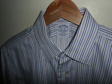 BROOKS BROTHERS Mens Stripe Slim Fit Shirt Egyptian Cotton Size Medium M 15.5""