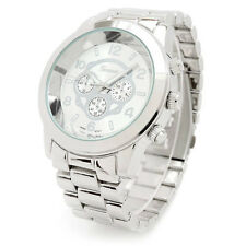 New Geneva Large Silver Boyfriend Style Women's Watch