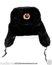 RUSSIAN SOVIET USSR ARMY FUR HAT + BADGE CLASSIC BLACK USHANKA COLD WAR SIZE 60