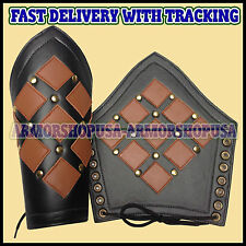 Genuine Leather Studded Medieval Bracer Pair Gauntlet Arm Guard LARP Armour SCA