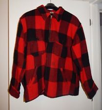 Vtg LL Bean Macinaw Jacket Mens XL Black Red Plaid Wool Hunting Field Coat USA