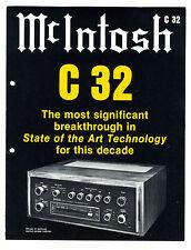 MC INTOSH - C32 - CATALOGO ORIGINAL AÑOS 70  (  ORIGINAL CATALOG )