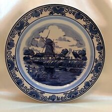 "02B-C25 DELFT PLATE BLAUW Holland Distel Hand Painted Windmill 9.5"" Large"