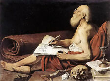 Oil painting Lionello Spada - st jerome old man writing with skull no framed art