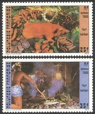 French Polynesia 1985 Traditional Cooking/Food/Animals/Vegetables 2v set  n35733