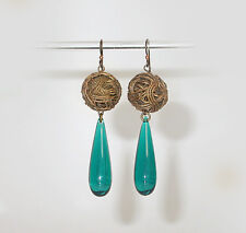 "~VTG 60's ""SCHEHERAZADE"" HOLLYWOOD REGENCY COPPER WIRE & TEAL LUCITE EARRINGS!~~"