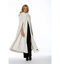 Women's Cashmere Opera Cape Cloak with Hood - Winter White Fox Trim 52""