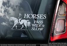 HORSES - PASS WIDE & SLOW - Car Window Sticker - Slow Down Decal Horse Sign -V06