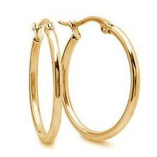 Shiny 1 Inch Surgical Stainless Steel Hoop Earrings Hypoallergenic Gold Tone