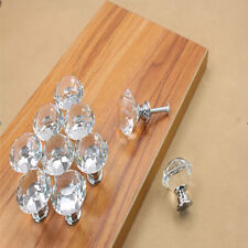 10Pcs 30mm Pull Handle Diamond Shape Crystal Glass Cabinet Knob Cupboard Drawer