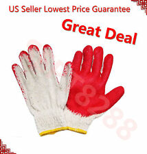 Lot of 8 Pairs WORK GLOVES Red Latex Palm Coating Rubber Coated =US Seller=