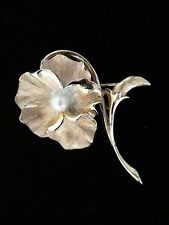 Vintage Marcel Boucher Brooch Gold Tone Pansy Flower Cultured Pearl  8376P