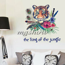 Tiger Feather Wall Decal Art Stickers Mural Home Vinyl DIY Animal Flower Room
