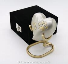 Solid Brass Pet Paw Prints Memorial Heart Cremation Keepsake Urn + Case +Stand