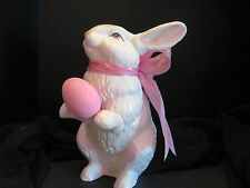 """NEW Made in USA 2017 Large 15"""" Ceramic Bunny with Egg Can Personalize"""