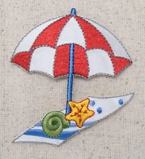 Iron-On Applique Embroidered Patch Beach Towel Red/White Umbrella Seashells