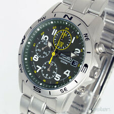 SEIKO SPORTS 7T92  MID SIZE CHRONO MILITARY DARK GREEN FACE MATT S/STEEL SND377P