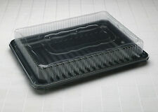 5 Rectangular Plastic Sandwich Platters with Clear Lids (Medium) - FREE DELIVERY