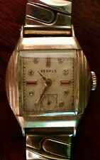 Fine Vintage 1950 Art Deco Benrus 10K Rolled Gold Watch Bejeweled Face Working