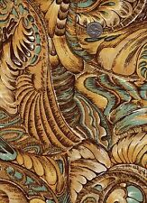 "Vintage Jinny Beyer Gold Turquoise Brown ""Wings""  Print OOP 1/2 Yard"