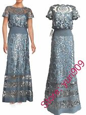 TADASHI SHOJI STEEL BLUE SEQUIN TOPPED ILLUSION  FORMAL GOWN DRESS 10 $519