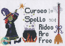 Cross Stitch Kit Candamar Rides Are Free Halloween Witch, Caldron & Broom #5200