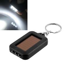 Mini Solar Power Rechargeable 3 LED Flashlight Keychain Light Lamp Torch BlackGG