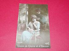 CPA GUERRE 14-18 CARTE PATRIOTIQUE 1916 POILUS VISION DE GLOIRE ET D'AMOUR
