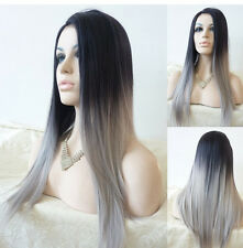 Straight wig Synthetic Wig Ombre Tone Color Black And Grey Fiber wigs women wigs