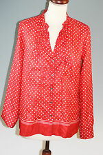 MARELLA Sport 100% SILK RED SPOTTED BLOUSE TOP Size UK 12