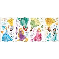 DISNEY PRINCESS ROYAL DEBUT 37 BiG Wall Decals Glittery Stickers Room Decor NEW