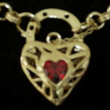 New 9K Yellow Gold Filled Ruby Filigree Heart Pendant Belcher Chain Necklace