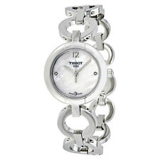 Tissot White Mother of Pearl Dial Diamond-set Stainless Steel Bangle Ladies