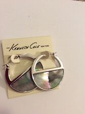 $35 Kenneth Cole Black Hoop Shell Earring Kc 416