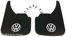 Universal Car Mudflaps Front Rear VW Volkswagen White Logo Beetle Bora Guard