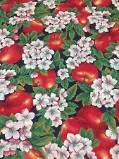 Apples And Blossoms Cotton Fabric Red White Black Background Quilt Sew 1YD VTG