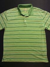 Men's Bolle Golf Green Striped Polo Shirt Size Large