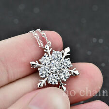 Silver Plated Snowflake White Crystal Necklace Pendant No chain Valentine's Day