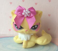 ~❤️~Littlest Pet Shop #878 Yellow Ice-cream Persian Sitting CAT + pink bow~❤️~