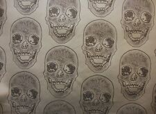 upholstery Vinyl faux Leather Black Skull on Matt Silver embossed Faux fabric