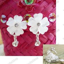 CLIP ON cream white  FLOWERS crystal EARRINGS silver rhinestone VINTAGE STYLE