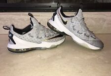 NIKE LEBRON XIII 13 LOW COOL GREY-METALLIC GOLD-WHITE-BLACK SZ 9/GREAT CONDITION