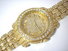 Iced Out Bling Bling Goldtone Bracelet Techno Pave Men's Watch # 3370