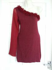 SIZE 14 ONE SHOULDER DRESS Womens PARTY COCKTAIL Summer Ladies Occasion Red