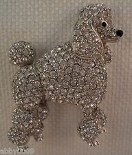 Signed Swan Swarovski Rhodium Poodle with Clear Crystal Brooch Pin