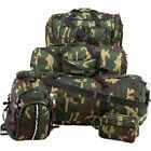Mens Army Camo 5 Piece Luggage Set, Carry-On Duffle Overnight Outdoor Camp Bag