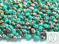 10g Czech SuperDuo Twin Beads Turquoise Green Vitrail