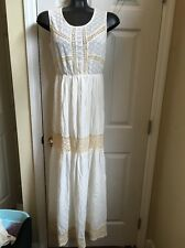 Solitaire By Ravi Khosla Lace Embroidered 100% Cotton Long Dress Sz M
