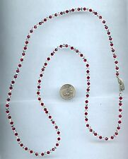 """Vintage Red Clear Crystal  Necklace 33"""" Alice Caviness"""