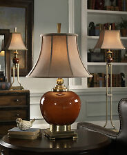 "31"" RED PORCELAIN TABLE LAMP WITH BRONZE METAL DETAILS GOLD SHADE READING LIGHT"